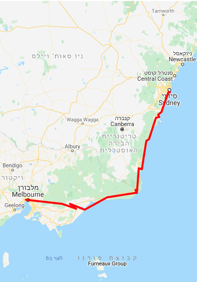 מפת מסלול טיול ממלבורן לסידני אוסטרליה