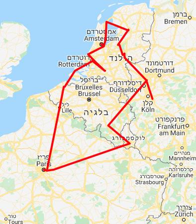 מפת מסלול טיול בהולנד בלגיה וצרפת מדיסלדורף