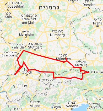 מפת מסלול טיול בקרוואן ממינכן ליער השחור ואוסטריה