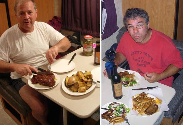 אכלנו טוב בטיול, כל יום סטייק גדול שהכננו בעצמנו בקרוואן