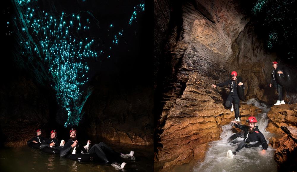 ראפטינג במים שחורים במערת Waitomo שזה בעצם שיט אבובים בנהר הזורם במערה